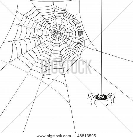 Halloween cute spider and web isolated on white background vector illustration.