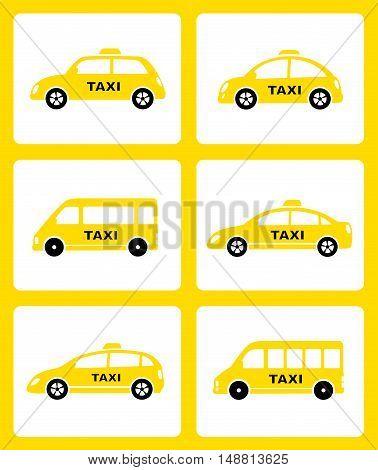 Set Of Yellow Taxi Car Icon