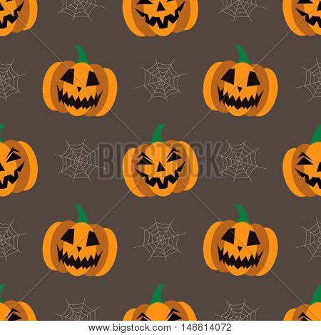 Seamless background for Halloween with pumpkins and cobweb. Vector illustration in modern flat design.