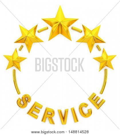 Five golden star service - 3d rendering