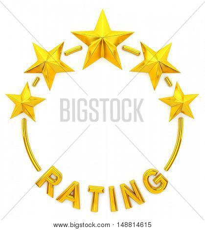 Five golden star rating- 3d rendering