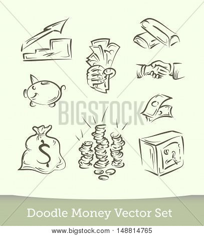 finance doodle set  isolated on white background. Vector EPS10