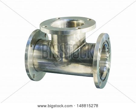 Thick stainless steel tee flanges for bolting. Isolated on white background.