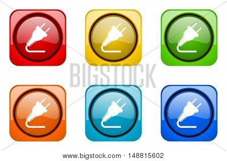 plug colorful web icons