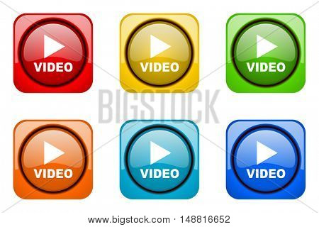 video colorful web icons