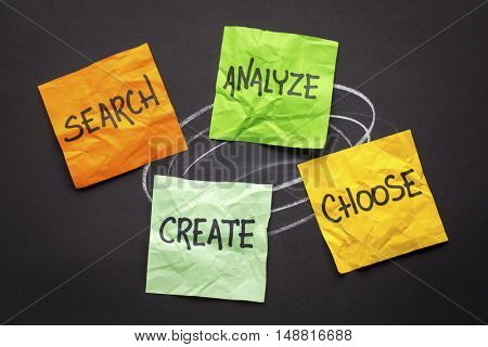 search, analyze, choose and create - creativity concept - handwriting on colorful sticky notes against black paper
