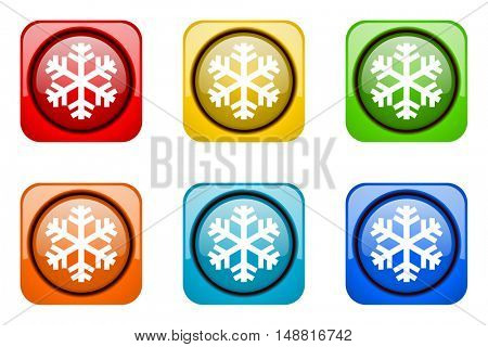 snow colorful web icons