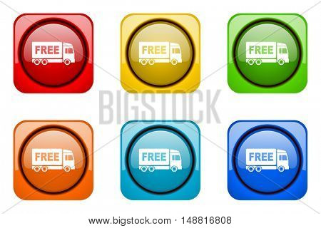free delivery colorful web icons