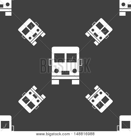 Truck Icon Sign. Seamless Pattern On A Gray Background. Vector