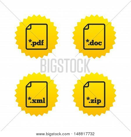 Download document icons. File extensions symbols. PDF, ZIP zipped, XML and DOC signs. Yellow stars labels with flat icons. Vector