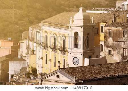A Churh Bell Tover In The Town Ragusa Ibla In Sicily