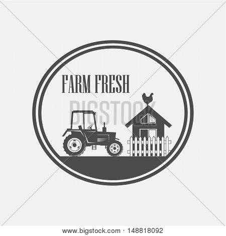 Fresh Farm Produce and logo tractor - vector illustration