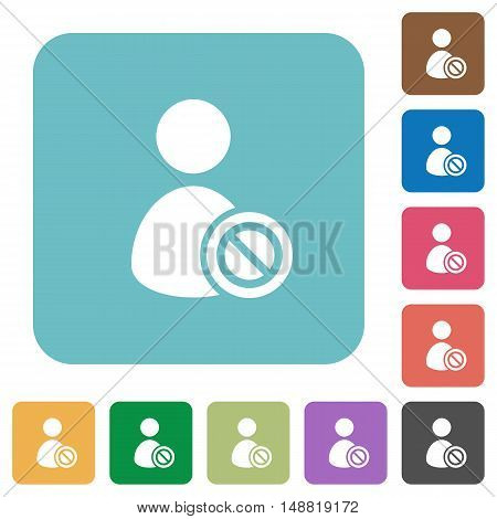 Flat Ban user icons on rounded square color backgrounds.