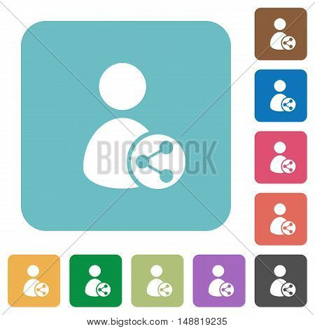 Flat Share user data icons on rounded square color backgrounds.