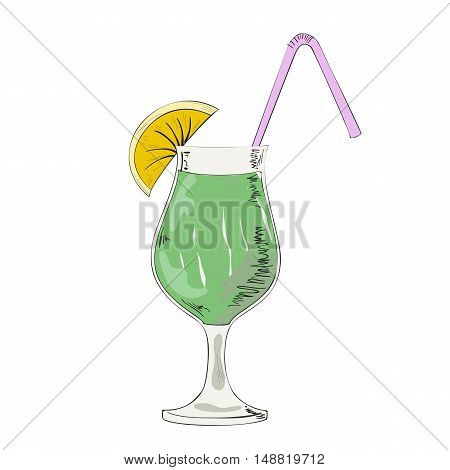 Glass with alcoholic cocktail with a slice of lime on a white background.