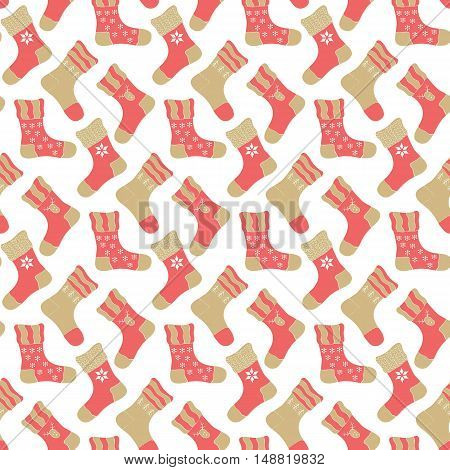 Seamless pattern with socks on the white background.