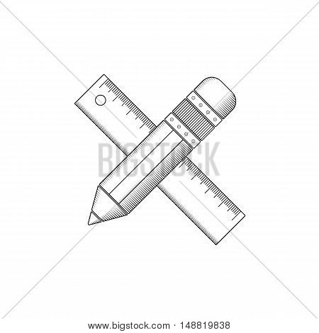Pencil and ruler outline. Isolated vector illustration on white background.