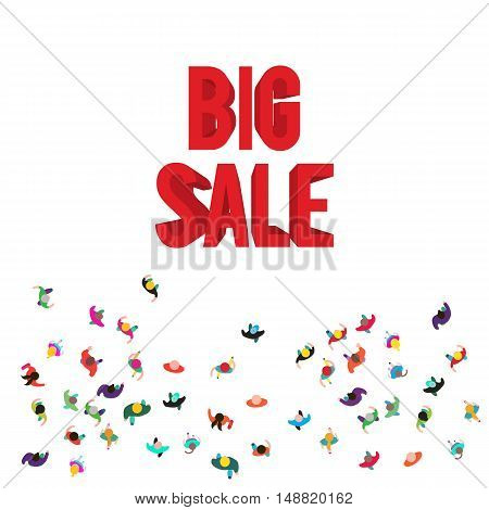 People run to an red 3D big sale. People top view isolated on white background. Big sale concept. Template for design, website or presentation.