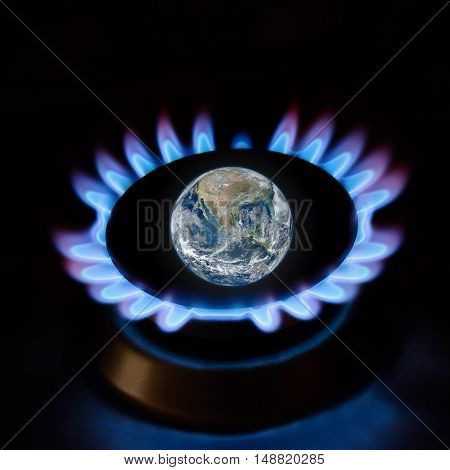 Ecology and gas for save the Earth. Elements of this image furnished by NASA.