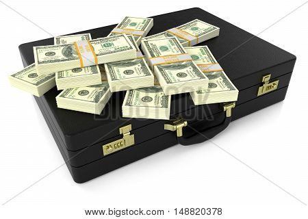 Leather Suitcase With Dollars 3D