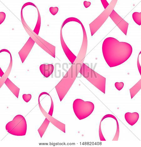 Vector illustration of seamless pattern with pink breast cancer ribbons and pink hearts. Breast cancer awareness endless background on white