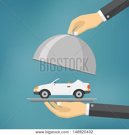 Hand holding silver tray with a car on it. flat style vector illustration.