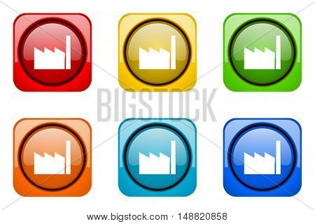 factory colorful web icons