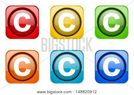 copyright colorful web icons