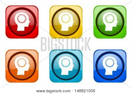 head colorful web icons