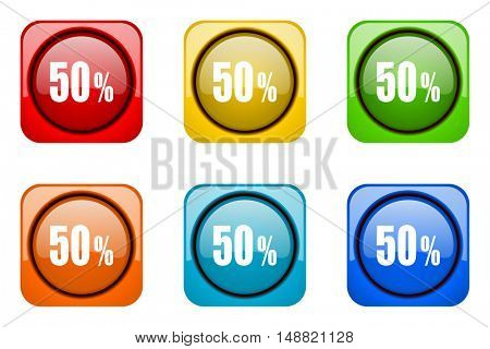 50 percent colorful web icons