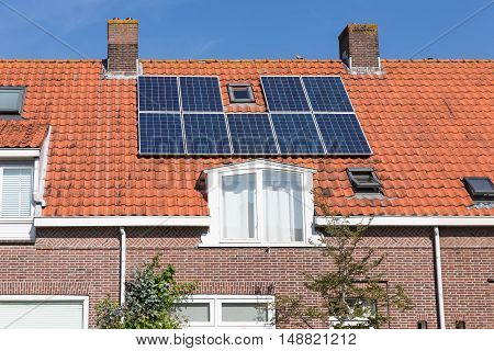 Dutch Family house with solar panel on the roof