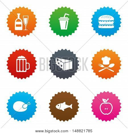 Food, drink icons. Beer, fish and burger signs. Chicken, cheese and apple symbols. Stars label button with flat icons. Vector