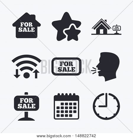 For sale icons. Real estate selling signs. Home house symbol. Wifi internet, favorite stars, calendar and clock. Talking head. Vector