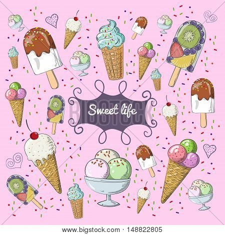 Set of vector illustration ice cream. Different colorful ice cream for your design.