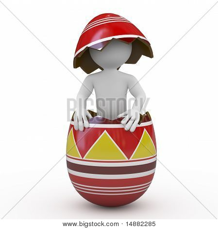 Man inside a huge Easter egg