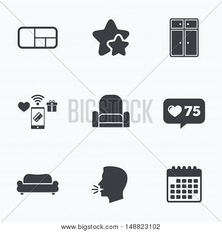 Furniture icons. Sofa, cupboard, and book shelf signs. Modern armchair symbol. Flat talking head, calendar icons. Stars, like counter icons. Vector