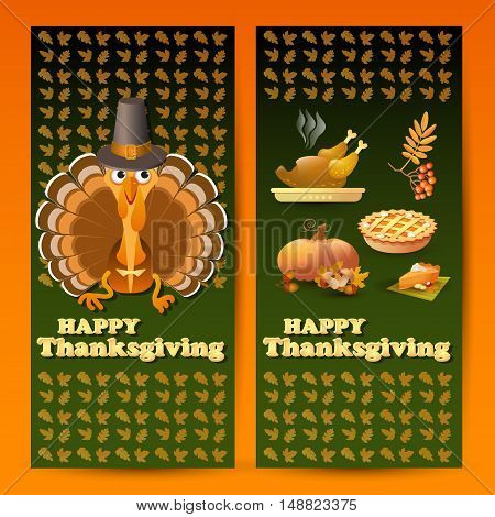 Vector illustration with autumn and Thanksgiving food and symbols on green background. Includes pumpkin, leaf, rowan, pilgrim hat, pie, roast turkey and text Happy Thanksgiving.