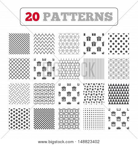 Ornament patterns, diagonal stripes and stars. Gift box sign icons. Present with bow and ribbons symbols. Engagement ring sign. Video game joystick. Geometric textures. Vector