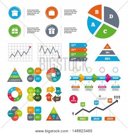 Data pie chart and graphs. Gift box sign icons. Present with bow and ribbons sign symbols. Presentations diagrams. Vector