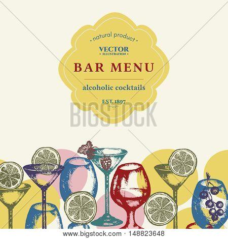 Alcohol bar menu vector alcohol drinks set