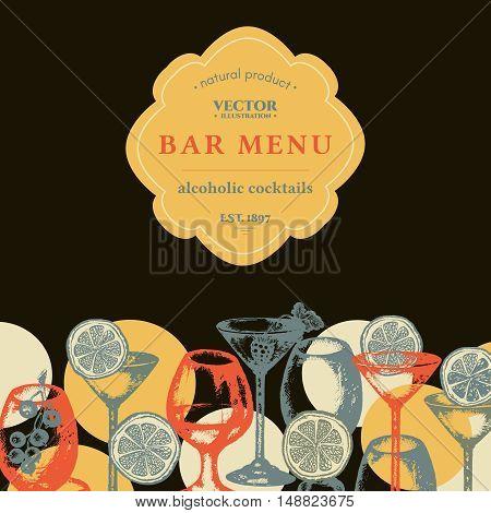 Alcohol menu hand drawn vintage template vector