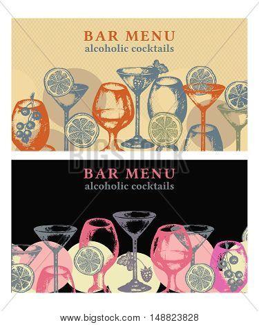 Alcohol drinks vector banner bar menu vintage template