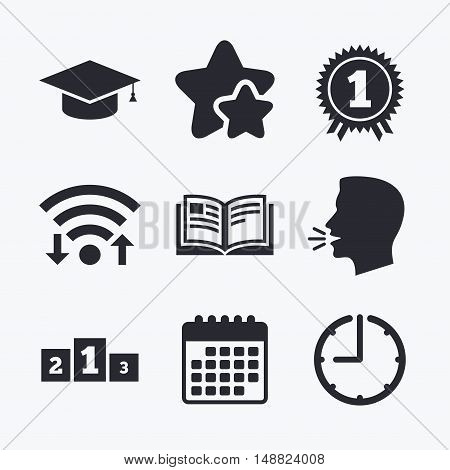 Graduation icons. Graduation student cap sign. Education book symbol. First place award. Winners podium. Wifi internet, favorite stars, calendar and clock. Talking head. Vector