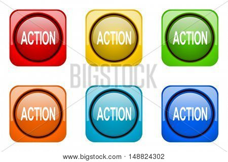 action colorful web icons