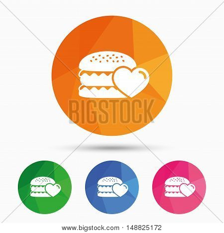 Hamburger icon. Burger food symbol. Cheeseburger sandwich sign. Triangular low poly button with flat icon. Vector