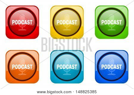 podcast colorful web icons