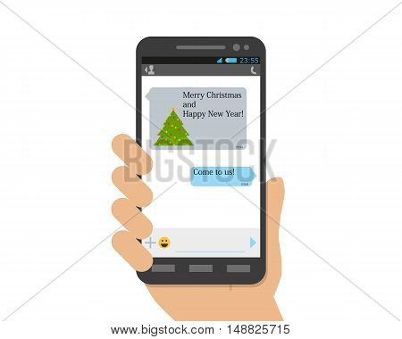 The friend did not forget to congratulate his friend on the holiday and New Year's message came on the phone. Vector illustration