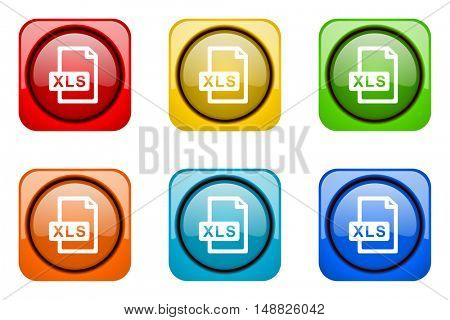 xls file colorful web icons