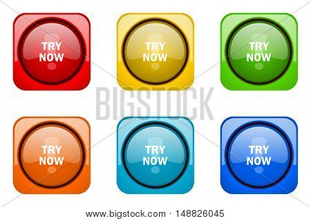 try now colorful web icons