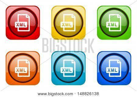 xml file colorful web icons